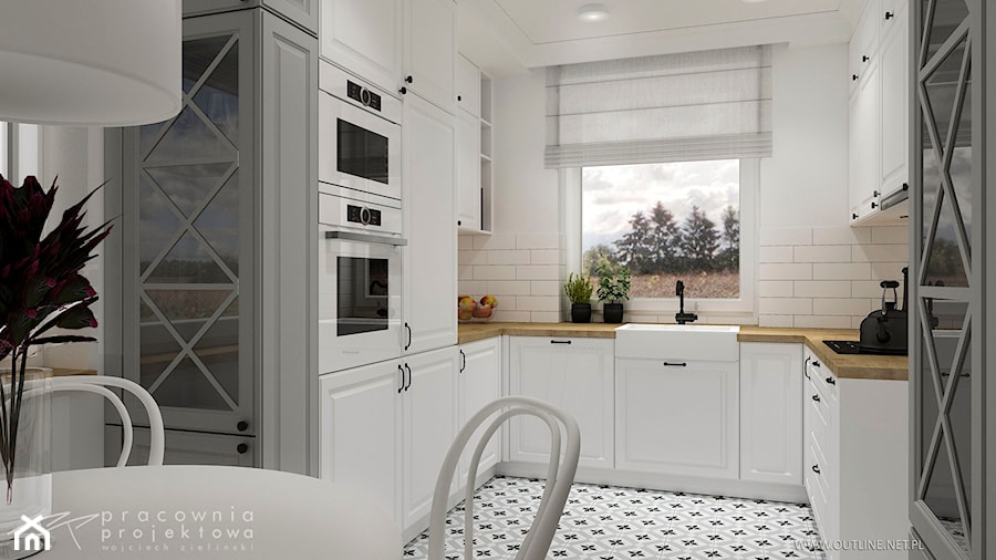 Kuchnia W Stylu Klasycznym średnia Otwarta Biała Kuchnia W