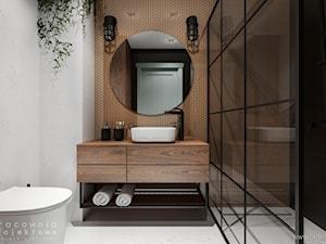 Mieszkanie w stylu industrialnym - Średnia biała czarna brązowa łazienka w bloku w domu jednorodzinnym bez okna, styl industrialny - zdjęcie od Pracownia Projektowa Wojciech Zieliński