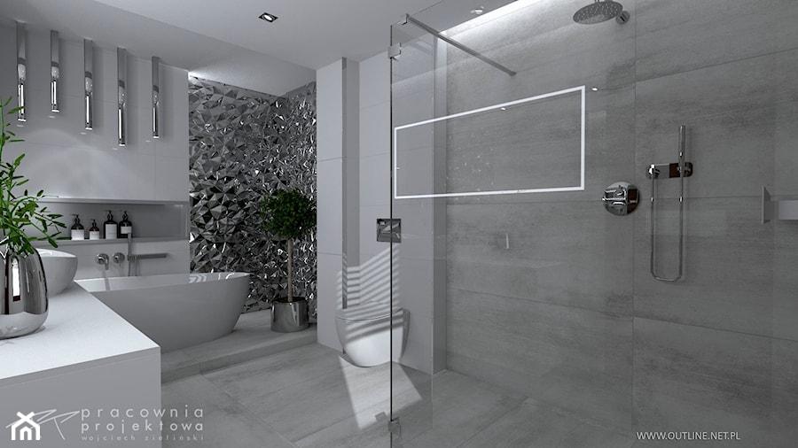 Mieszkanie w stylu glamour - Średnia biała szara łazienka w domu jednorodzinnym z oknem, styl glamour - zdjęcie od Pracownia Projektowa Wojciech Zieliński