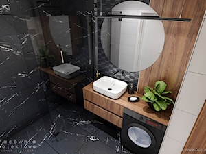 Męskie mieszkanie w ciemnych kolorach - Mała biała czarna łazienka bez okna, styl nowoczesny - zdjęcie od Pracownia Projektowa Wojciech Zieliński