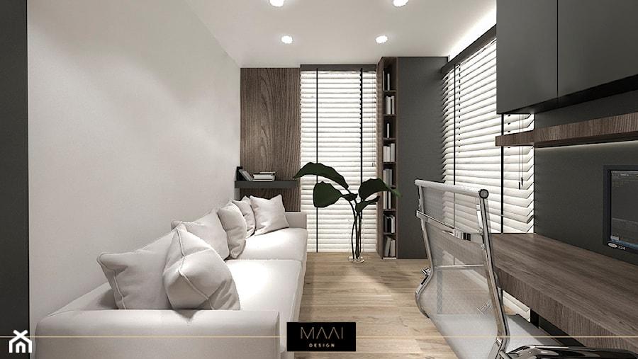 Aranżacje wnętrz - Biuro: MIESZKANIE 60M – FORT BEMA - Średnie czarne szare biuro domowe kącik do pracy w pokoju, styl nowoczesny - MAAI Design. Przeglądaj, dodawaj i zapisuj najlepsze zdjęcia, pomysły i inspiracje designerskie. W bazie mamy już prawie milion fotografii!
