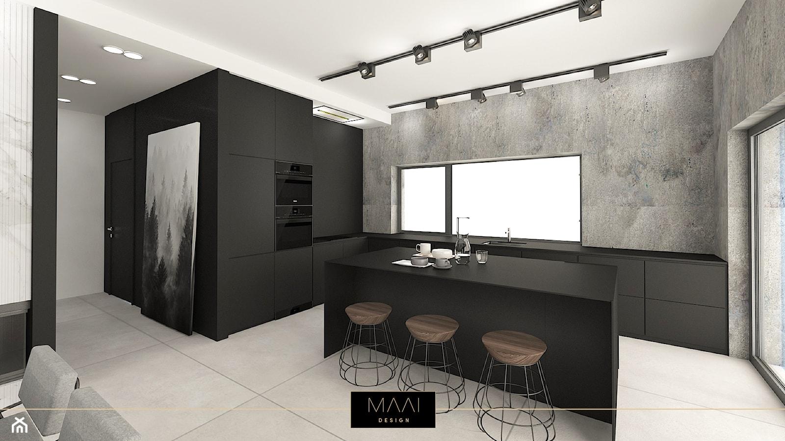 NOWOCZESNY DOM 200m2 – STARA WIEś - Duża szara czarna kuchnia w kształcie litery l w aneksie z wyspą z oknem, styl nowoczesny - zdjęcie od MAAI Design - Homebook