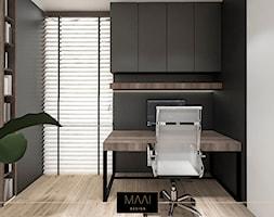 MIESZKANIE 60M – FORT BEMA - Małe czarne szare biuro kącik do pracy, styl nowoczesny - zdjęcie od MAAI Design