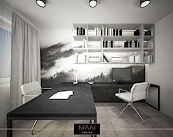 DOM POD WARSZAWĄ 170M2 - Średnie szare biuro kącik do pracy w pokoju, styl minimalistyczny - zdjęcie od MAAI Design