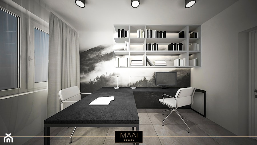 Aranżacje wnętrz - Biuro: DOM POD WARSZAWĄ 170M2 - Średnie szare biuro kącik do pracy w pokoju, styl minimalistyczny - MAAI Design. Przeglądaj, dodawaj i zapisuj najlepsze zdjęcia, pomysły i inspiracje designerskie. W bazie mamy już prawie milion fotografii!