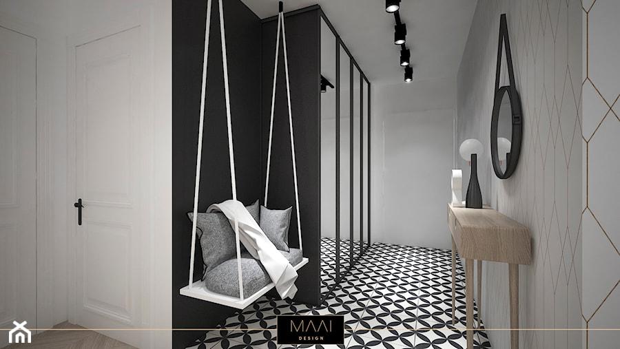 MIESZKANIE 60m2 NA WARSZAWSKIEJ WOLI - Duży czarny szary hol / przedpokój, styl industrialny - zdjęcie od MAAI Design