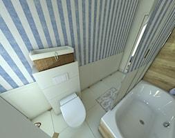 Mieszkanie w stylu prowansalskim - Średnia beżowa niebieska łazienka w bloku w domu jednorodzinnym bez okna, styl prowansalski - zdjęcie od P.S.-projekt