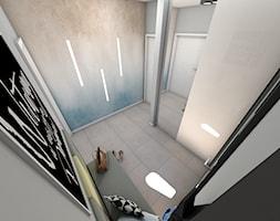 Wiatrołap z tapetą ombre - Mały szary hol / przedpokój, styl nowoczesny - zdjęcie od P.S.-projekt