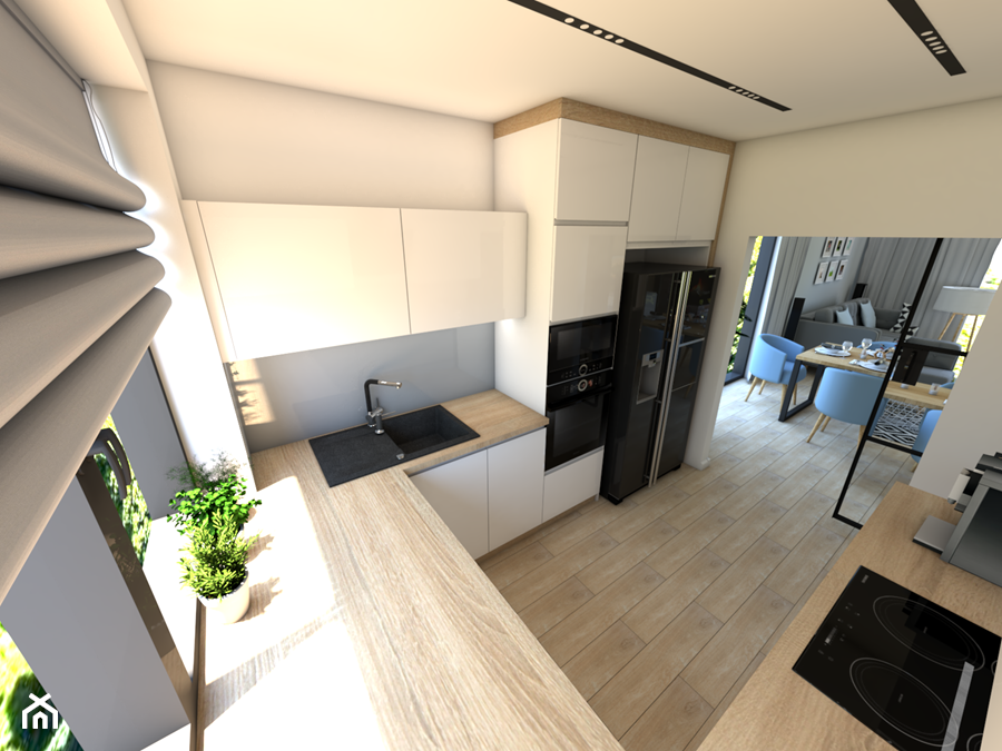 Kuchnia i salon - Średnia otwarta biała szara kuchnia w kształcie litery u z oknem, styl nowoczesny - zdjęcie od P.S.-projekt