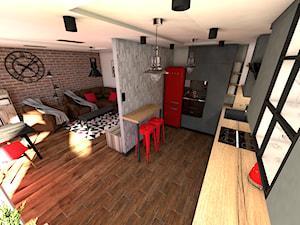 Męskie mieszkanie - Duża otwarta szara kuchnia w kształcie litery l, styl industrialny - zdjęcie od P.S.-projekt