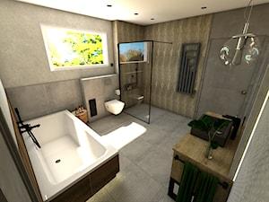 Dom pod Koninem - Duża beżowa szara łazienka w domu jednorodzinnym z oknem, styl industrialny - zdjęcie od P.S.-projekt