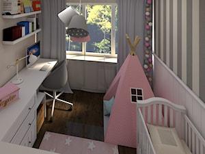 Pokój Zuzi - Mały biały szary pokój dziecka dla dziewczynki dla ucznia dla niemowlaka - zdjęcie od P.S.-projekt