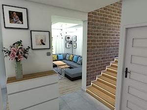 Dom w bieli i szarości - Mały biały hol / przedpokój, styl skandynawski - zdjęcie od P.S.-projekt