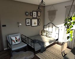 Pokój nastolatki Urban jungle vs Boho - Mała biała brązowa sypialnia małżeńska, styl vintage - zdjęcie od P.S.-projekt