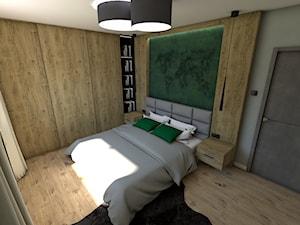 Dom pod Koninem - Średnia szara sypialnia małżeńska, styl industrialny - zdjęcie od P.S.-projekt