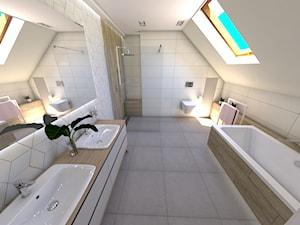 Łazienka pod Ostrzeszowem - Duża biała łazienka na poddaszu w domu jednorodzinnym z oknem, styl nowoczesny - zdjęcie od P.S.-projekt