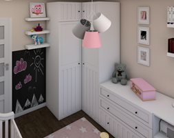Pokój Zuzi - Mały beżowy czarny pokój dziecka dla dziewczynki dla niemowlaka - zdjęcie od P.S.-projekt