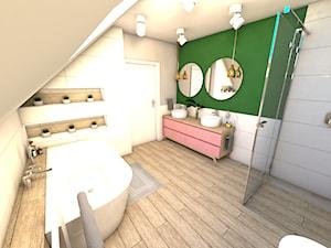 Łazienka z różem - Duża szara zielona łazienka na poddaszu w domu jednorodzinnym bez okna - zdjęcie od P.S.-projekt