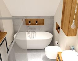 Łazienka - Średnia łazienka na poddaszu w domu jednorodzinnym bez okna, styl skandynawski - zdjęcie od P.S.-projekt