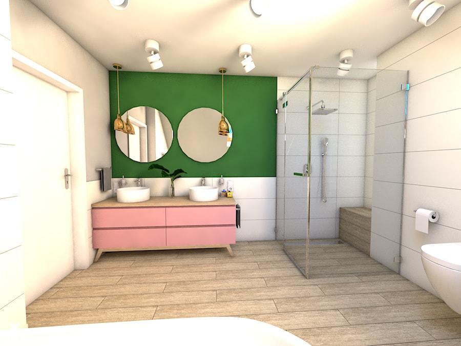 Łazienka z różem - Średnia biała zielona łazienka na poddaszu w bloku w domu jednorodzinnym z oknem - zdjęcie od P.S.-projekt