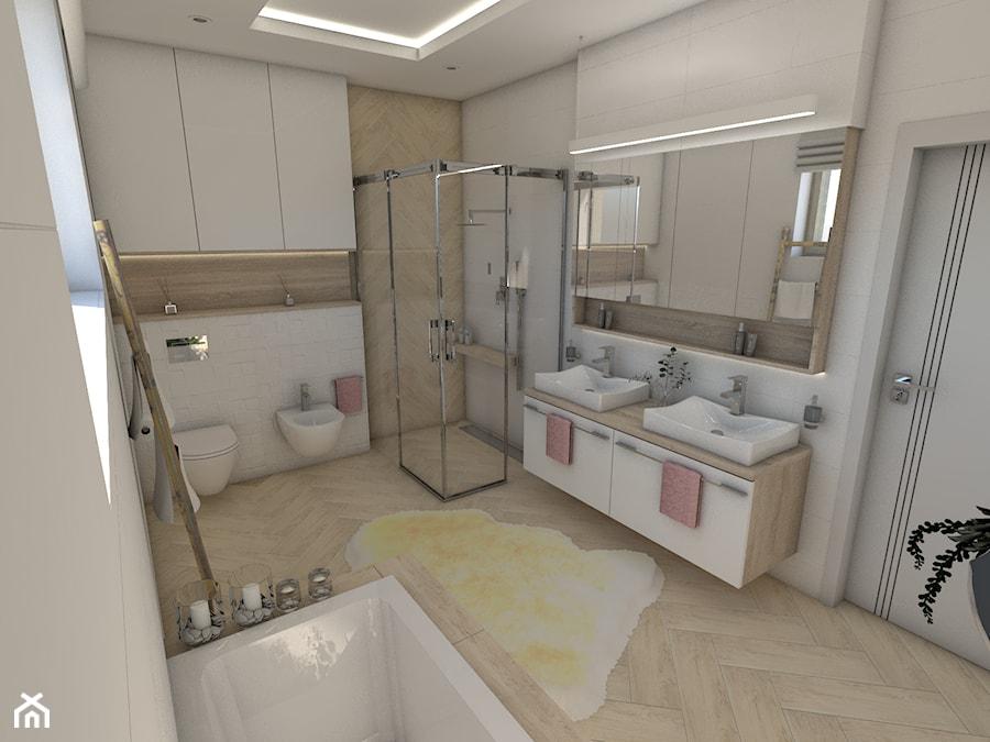 Jasna łazienka - Średnia szara łazienka w bloku w domu jednorodzinnym z oknem - zdjęcie od P.S.-projekt