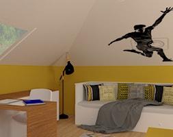 Pokój chłopca - Mały biały żółty pokój dziecka dla chłopca dla dziewczynki dla ucznia dla nastolatka, styl nowoczesny - zdjęcie od P.S.-projekt