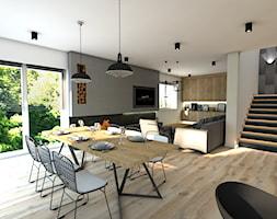 Dom pod Koninem - Średni szary biały salon z jadalnią, styl industrialny - zdjęcie od P.S.-projekt