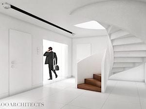 Ip house - Średnie wąskie schody kręcone drewniane, styl nowoczesny - zdjęcie od Mymolo Patrycja Dąbek