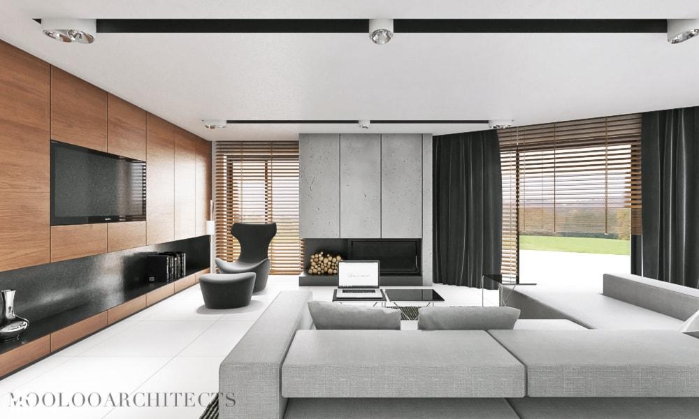 Ip house - Duży szary biały salon, styl nowoczesny - zdjęcie od Mymolo Patrycja Dąbek - Homebook