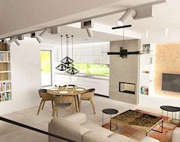 Wnętrza domu na Jurze - Średnia otwarta biała szara jadalnia w kuchni w salonie, styl nowoczesny - zdjęcie od BAK Architekci - Homebook