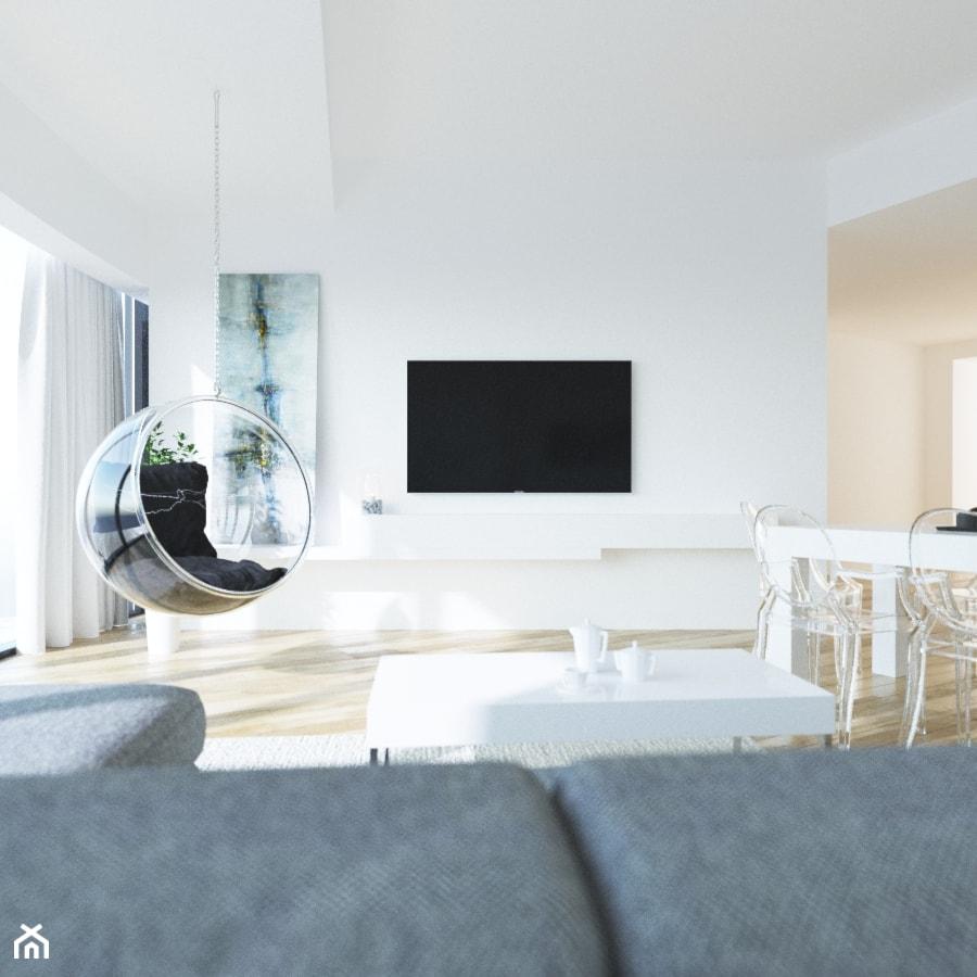 APARTAMENT SKY WHITE - Średni biały salon z jadalnią, styl nowoczesny - zdjęcie od KBW Architektura & Design