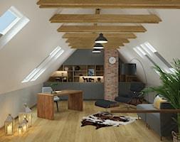 DOM POKAZOWY - Duże szare biuro domowe kącik do pracy na poddaszu, styl nowoczesny - zdjęcie od KBW Architektura & Design