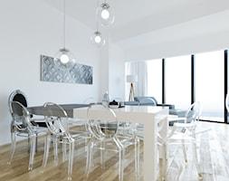 APARTAMENT SKY WHITE - Duża otwarta biała jadalnia w salonie, styl nowoczesny - zdjęcie od KBW Architektura & Design
