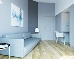 APARTAMENT SKY WHITE - Średnie szare białe biuro domowe kącik do pracy w pokoju, styl klasyczny - zdjęcie od KBW Architektura & Design