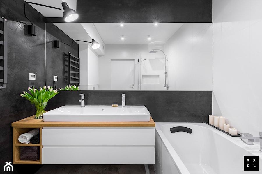 NOWOCZESNOŚĆ Z SUROWYM CHARAKTEREM - Mała łazienka w bloku bez okna, styl nowoczesny - zdjęcie od 3XEL Architekci