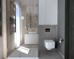 mieszkanie//65m - Mała szara łazienka w bloku w domu jednorodzinnym z oknem - zdjęcie od totamstudio