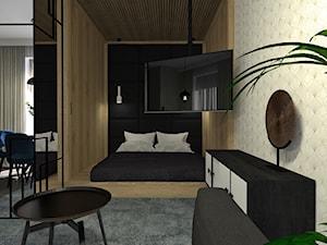 mieszkanie na wynajem krótkoterminowy//1 - Mała beżowa czarna sypialnia małżeńska - zdjęcie od totamstudio