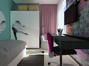 mieszkanie//65m - Mały szary niebieski pokój dziecka dla chłopca dla dziewczynki dla ucznia dla nastolatka - zdjęcie od totamstudio