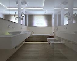 dom 315m - Duża łazienka w bloku w domu jednorodzinnym z oknem - zdjęcie od totamstudio