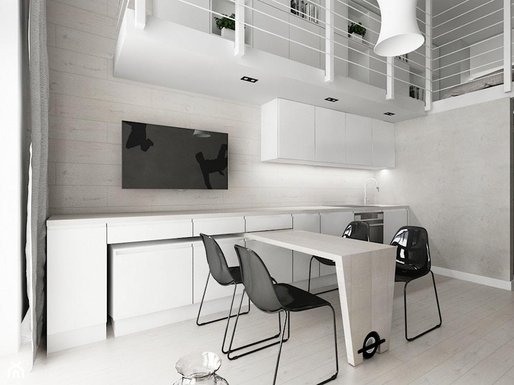 mikromieszkanie w stylu industrialnym z funkcjonalną kuchnią