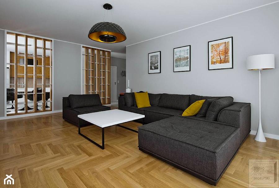 bia o szary salon z a urowym rega em oddzielaj cym od kuchni zdj cie od piotr skorupski. Black Bedroom Furniture Sets. Home Design Ideas