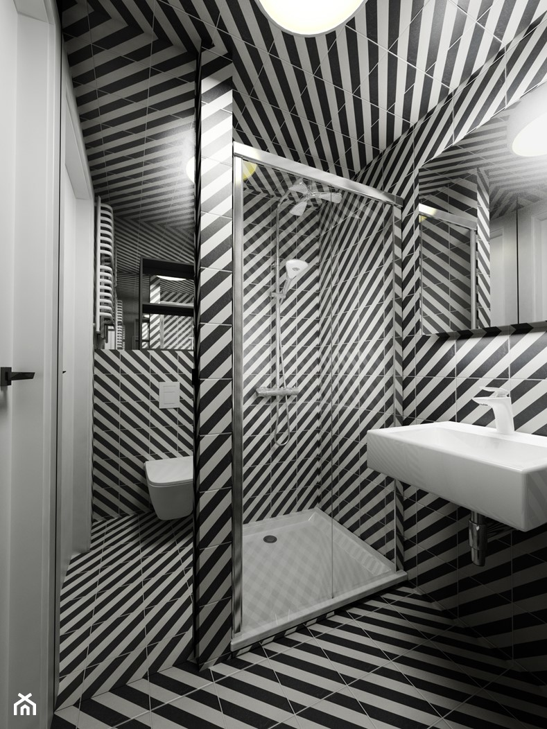 Minimalistyczny loft z grafiką - Mała biała czarna łazienka w bloku w domu jednorodzinnym bez okna, styl minimalistyczny - zdjęcie od Piotr Skorupski Studio Architektury - Homebook