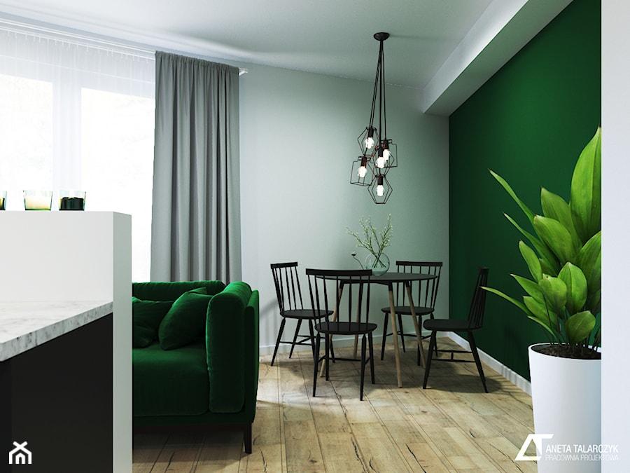Jedności Narodowej, Wrocław - Mała otwarta biała zielona jadalnia w salonie, styl nowoczesny - zdjęcie od Aneta Talarczyk Pracownia Projektowa