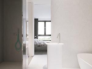 I37.16 | Wilanów, Warszawa PL - Mała szara łazienka na poddaszu w bloku w domu jednorodzinnym z oknem, styl minimalistyczny - zdjęcie od DEKAA Architects