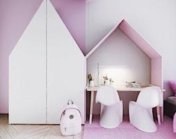 I22.16 | Kabaty, Warszawa PL - Mały szary różowy pokój dziecka dla dziewczynki dla ucznia dla malucha dla nastolatka, styl minimalistyczny - zdjęcie od DEKAA Architects