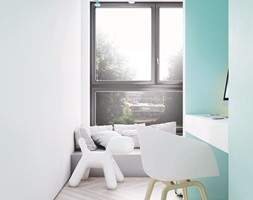I22.16 | Kabaty, Warszawa PL - Mały biały niebieski pokój dziecka dla chłopca dla dziewczynki dla ucznia dla nastolatka, styl minimalistyczny - zdjęcie od DEKAA Architects