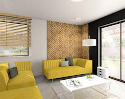 projekt otwartej kuchni i wiatrołap Gniezno - Mały biały brązowy salon, styl nowoczesny - zdjęcie od FLUO design