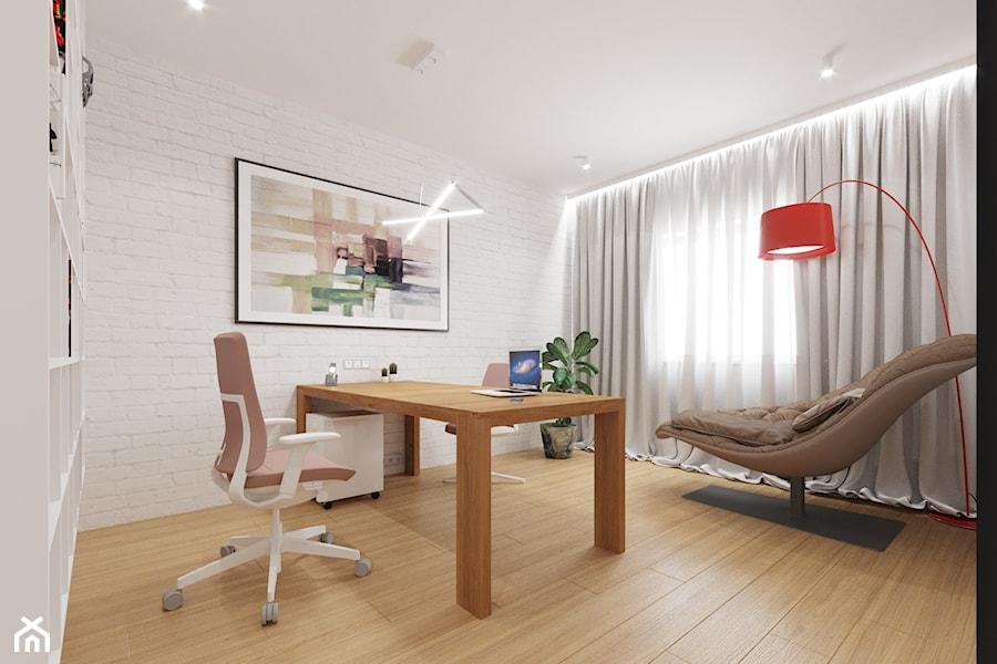 Aranżacja domu w Bielsku-Białej - Średnie białe biuro domowe w pokoju, styl nowoczesny - zdjęcie od dbg DESIGNS