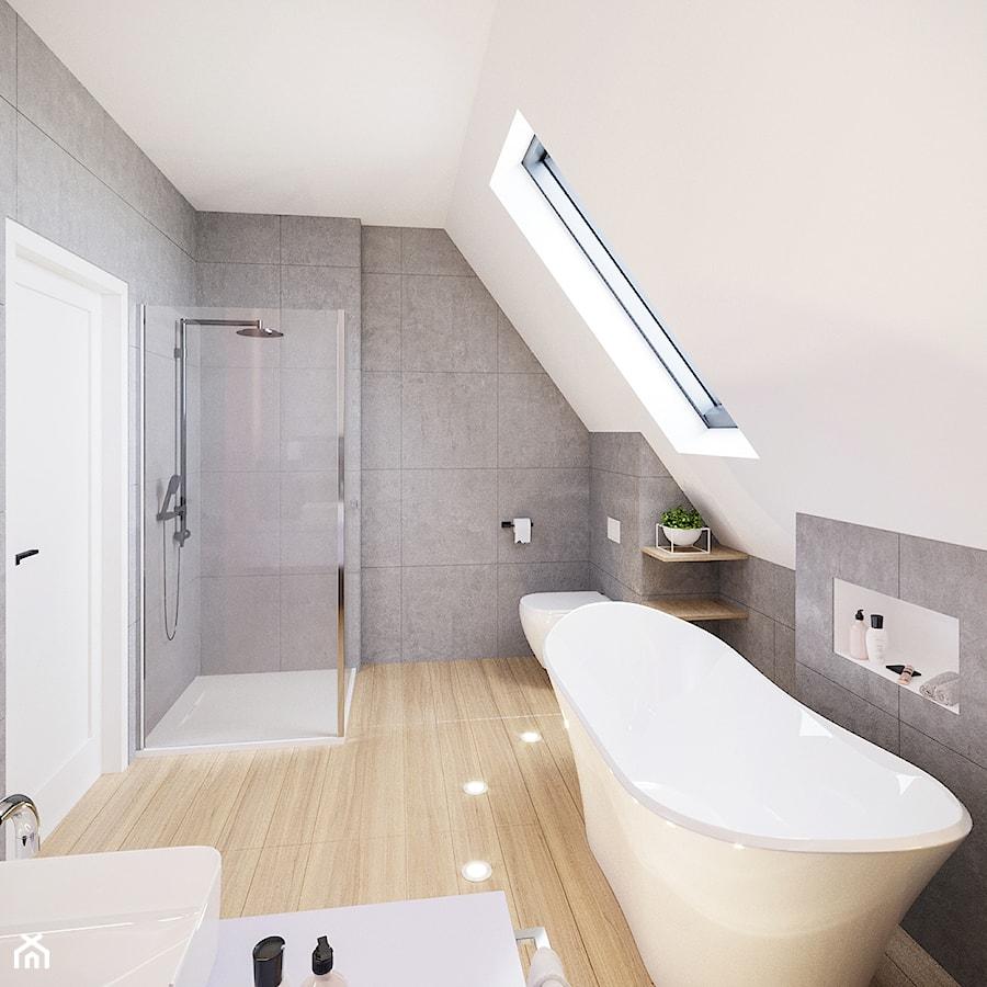 Aranżacja domu w Bielsku-Białej - Duża biała szara łazienka na poddaszu w domu jednorodzinnym z oknem, styl nowoczesny - zdjęcie od dbg DESIGNS