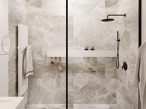 1 MAJA - Mała szara łazienka w bloku w domu jednorodzinnym bez okna, styl nowoczesny - zdjęcie od ARCHIWYTWÓRNIA Tomek Pytel